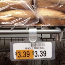 Hanging Label Holder in Bakery Department