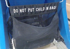 """""""Do Not Put Child In Bag"""" Warning Sign"""