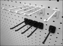 One Hole Pegboard Hooks in Metal and Plastic