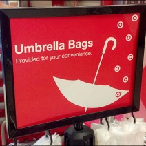 Umbrella Bag Stand Sign Detail