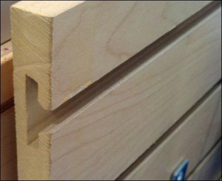 Slatwall Cutaway No Metal Insert Fixtures Close Up