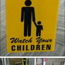Revolving Door Warning Sign Composite