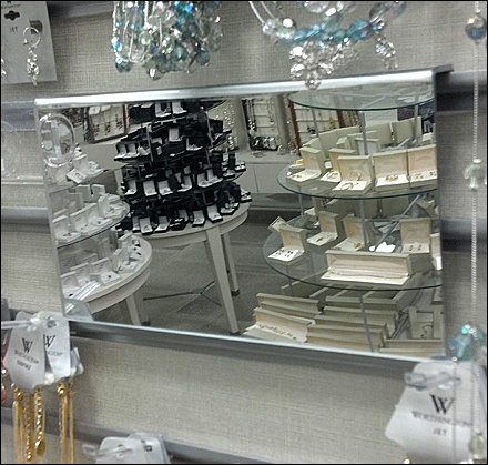 Wrap Around Mirror Mount in Jewelry Display