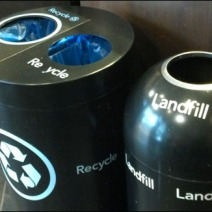 Recycle vs Landfill Closeup