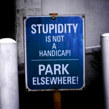 Stupidity is not a handicap Closeup