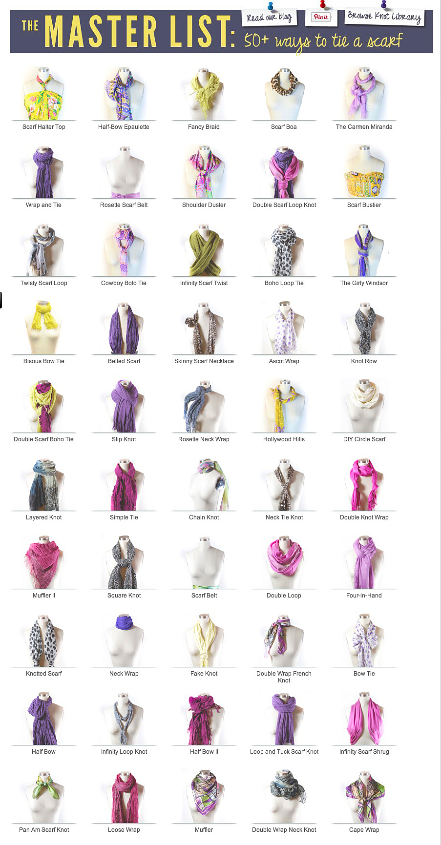 50 scarf ties for retail display fixtures up