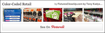 Color Coded Retail Pinterest Board FixturesCloseUp