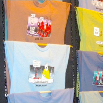 Rod And Chain T Shirt Display Fixtures Close Up