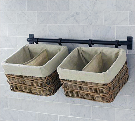 Bar Hung Wicker Baskets Aux