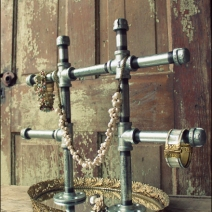 Industrurial Chic Iron Pipe Jewelry Display 1