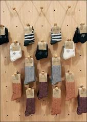 Socks on Plug In Wood Peg Hooks wit Ball End Safety Tip