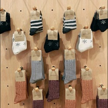Socks on Plug In Wood Peg Hooks wit Ball End Safety Tip