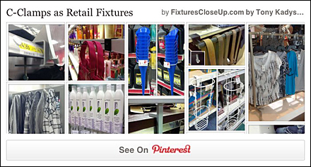 C-Clamps as Retail Fixtures Pinterest Board FixturesCloseUp
