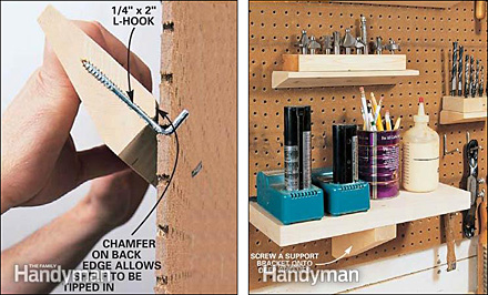 Make Your Own Pegboard Shelving Fixtures Close Up