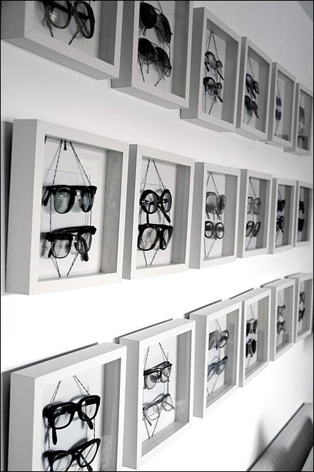 Eyewear in Shadowboxes As Retail Display Fixtures Close Up