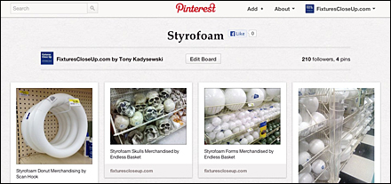 Styrofoam Pinterest Board for Fixtures Close Up