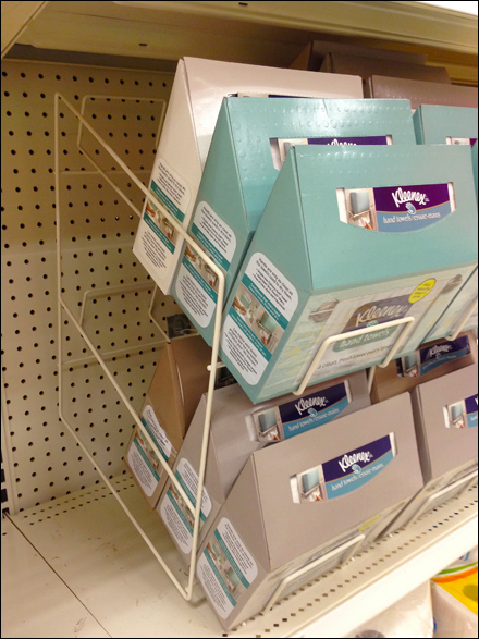 Kleenex Open Wire Gravity Feed Fixtures Close Up Retail Pop