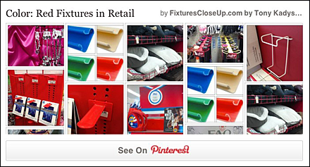 Red Fixtures in Retail Pinterest Board as FixturesCloseUp