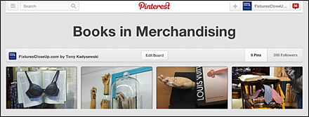 Books in Merchandising Fixtures Close Up Pinterest Board