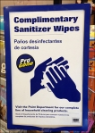 Complimentary Hand Wipes Sign Detail