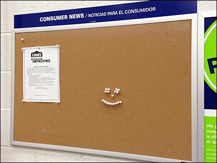 Cork Board Smiley Thumbtack Overall