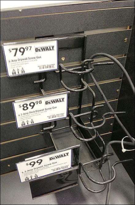 DeWalt 3-Tier Screw Gun Slatwall Rack Naked