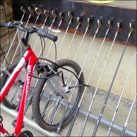 Golf Club Bike Rack Closeup Detail Main
