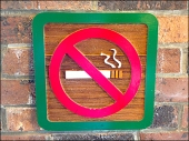 No Smoking Sign in Carved Wood Main