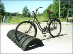 Upcycled and REcycled Tire Bike Rack