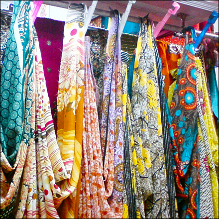 Colorful Sarees Uniquely Fixtured Closeup Main