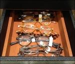Eyewear in Leather Tray Closeup