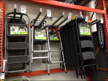 Step Stool Pallet Rack Hang Fixtures Close Up Retail Pop