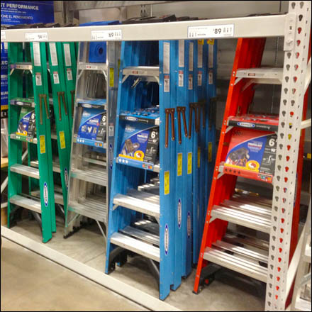 Color Coded Ladders Top Stopped Fixtures Close Up
