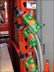 Faucet Connectors Clipped to Merchandising Strip Aux