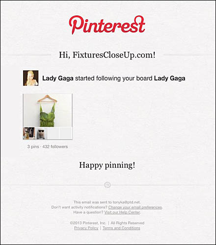 Lady Gaga Follows FixturesCloseUp Lady Gaga Board
