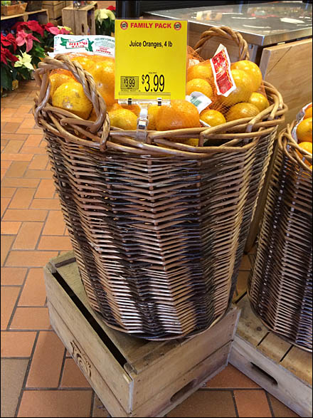 Oranges Wrapped in Wicker Tall