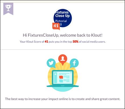 FixturesCloseUp Klout Score 41, Top 50% of Social Media