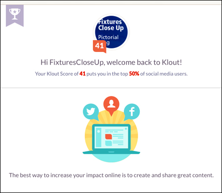 FixturesCloseUp Klout Score 41, Top 50% of Social Media