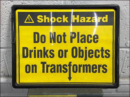 Shock Hazard Warning Closeup