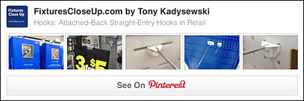 Attached Back 1-Piece Straight Entry Display Hook