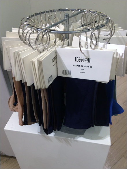 Fabric Exhibition Stand Examples : Wolford fabric sampler fixtures close up retail pop