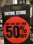 BOGO 50% Off Entire Store CloseUp