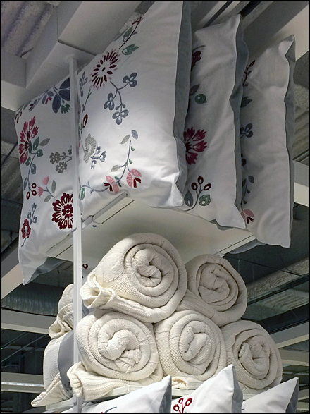 IKEA Ceiling Comforters and Pillow Detail