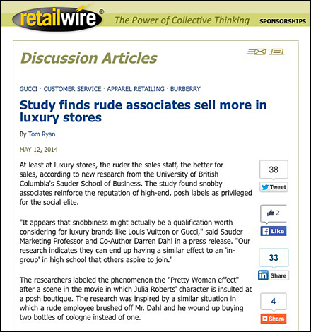 RetailWire Discussion_ Study finds rude associates sell more in luxury stores