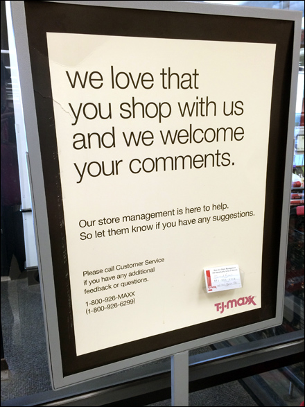 TJMaxx Welcomes Comments Main