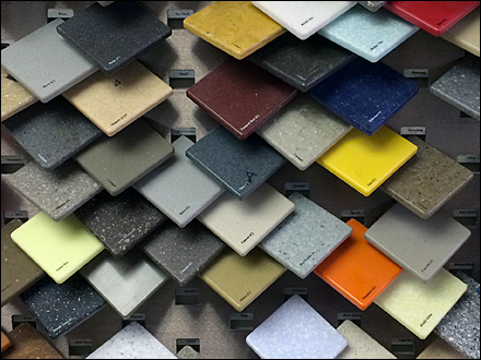 Corian tile tip on color samples for Corian competitors