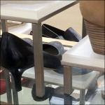 Frontlit Table Legged Shoe Pedestals CloseUp