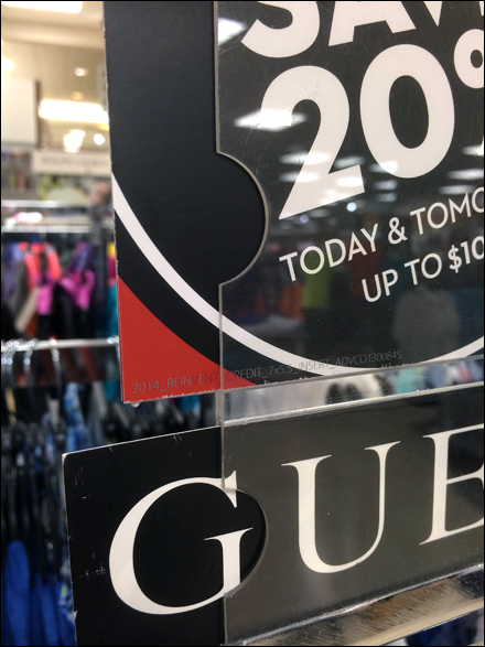 Guess and Macys Piggyback Sign Thumb Cut Outs