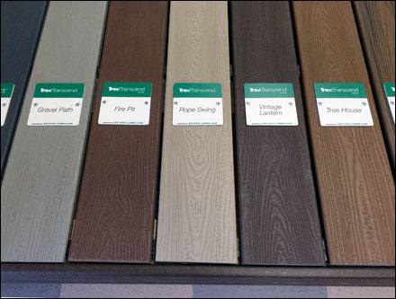 Trex color coded deck display fixtures close up for Compare composite decking brands