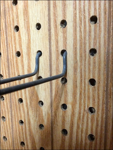Wainscoted Wood Pegboard in Hardware